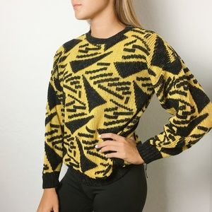 Vintage 90s Black and Yellow Graphic Sweater
